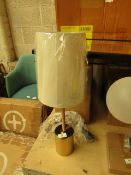   1X   MADE.COM LOU TABLE LAMP   RATTAN WRAPPED STEM AND BRUSHED BRASS   UNCHECKED & BOXED   RRP £39