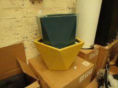 1 x Made.com Baloo Set Of Two Geometric Tall Fibreglass Planters Yellow & Teal RRP £129 SKU MAD-
