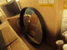 1 x Made.com MADE Essentials Bex Large Round Mirror 76cm Black RRP £99 SKU MAD-MIRBEX011BLA-UK TOTAL