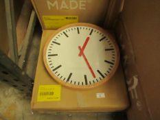 1 x Made.com Aslog Large Station Wall Clock Natural RRP £39 SKU MAD-CLKASL001NAT-UK TOTAL RRP £39