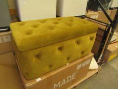1 x Made.com Rectangle Storage Pouffe Vintage Gold Velvet RRP £129 SKU MAD-AP-OTOHMN049GOL-UK