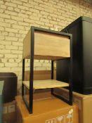 1 x Made.com Rena Bedside table Light Mango Wood and Black Metal RRP £119 SKU MAD-STBREN005MAN-UK