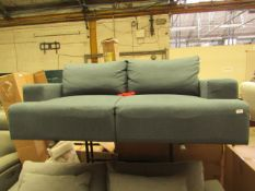 1 x Made.com MADE Essentials Oskar 2 Seater Sofa Aegean Blue RRP £399 SKU MAD-SOFOKR010BLU-UK