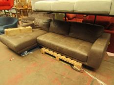 1 x Made.com Luciano Left Hand Facing Corner Sofa Texas Charcoal Grey Leather RRP £1699 SKU MAD-