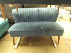 | 1X | COX AND COX BLUE VELVET FLUTED SOFA | BACK OF SOFA APPEARS TO HAVE A SMALL HOLE | RRP CIRCA