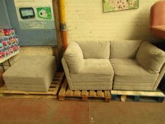 Mstar 3 piece modular sofa set, no major damage, consisits of 2 corner pieces and a foot stool,