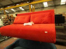 1 x Made.com Haru Large Double Sofa Bed Velvet Flame Orange RRP £379 SKU MAD-SOFHAR030ORA-UK TOTAL