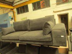 1 x SWOON Tulum MTO Three-Seater Sofa in SilverGrey EasyVelvet RRP œ1299 SKU SWO-