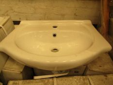 2x 550mm 1TH vanity slab basin in white, new and boxed.