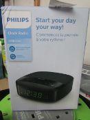 1x Phillips Clock Radio 3000 series - Untested & Boxed -