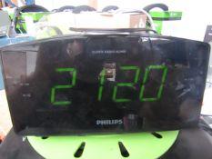 Phillips Radio Clock - Black - Untested & Unboxed -