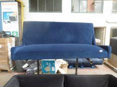 | 1X | MADE.COM BLUE VELVET 2 SEATER SOFA | MISSING FEET | RRP CIRCA - |