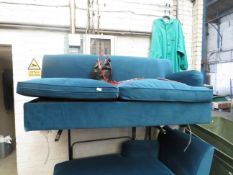 1 x Made.com Orson Left Hand Facing Chaise End Sofa Bed Velvet Seafoam Blue RRP £1199 SKU MAD-