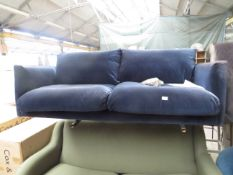 | 1X | SWOON EDITIONS 3 SEATER SOFA BLUE VELVET SOFA | HAS IMPERFECTIONS SUCH AS ON THE MATERIAL,