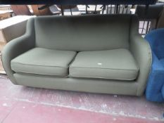| 1X | MADE.COM GREEN FABRIC 2 SEATER SOFA | HAS NO FEET AND SOFA BED PART IS UNCHECKED AND