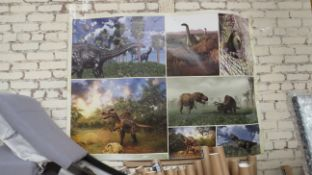 3x Dinosaur Wall Art With 30g Wall Paper Paste - New & Packaged - See Image for Design.