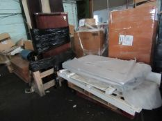 3 ITEMS BEING A SINGLE BED FRAME, KING SIZE BED FRAME & A TABLE TOP. ALL UNCHECKED
