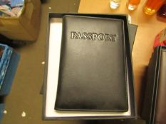 1 x Boca Black Leather Passport Organiser with RFID Blocking to Prevent Card Cloning New & Boxed