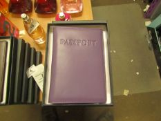 1 x Boca Purple Leather Passport Organiser with RFID Blocking to Prevent Card Cloning New & Boxed