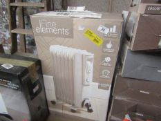   2X   FINE ELEMENTS 650W 5 FIN OIL FILLED RADIATOR   UNCHECKED & BOXED   NO ONLINE RESALE   SKU