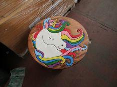 1x Hand Painted Natural solid wood Unicorn Table - Unused