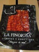 10 X 100G PACKETS LA FINOJOSA chorizo BB 13.3.22 RRP £5 PER PACKET IBERICO DE BELLOTA PATA NEGRA NEW