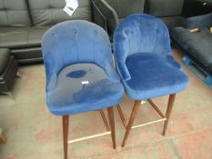   2X   MADE.COM MARGOT BAR STOOL, ELECTRIC BLUE VELVET   NEEDS A CLEAN AND HAS IMPERFECTIONS  