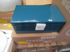   1X   MADE.COM DAVEN SET OF 2 METAL STORAGE BOX TRUNKS TEAL AND GREY   UNCHECKED & BOXED   RRP £