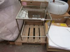   1X   COX AND COX VILLETTE BEDSIDE TABLE SILVER   UNCHECKED AND BOXED   RRP £295  