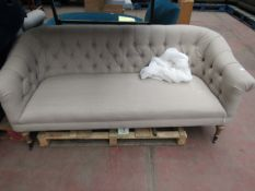   1X   SWOON 3 SEATER BUTTON BACK SOFA, LIGHT GREY, LIGHT FEET   NO VISIBLE MAJOR DAMAGE WITH