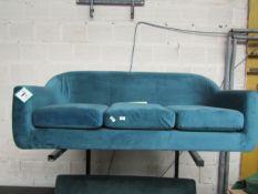 1 x Made.com Walker 3 Seater Sofa Orleans Blue RRP £599 SKU MAD-SOFBOD004BLU-UK TOTAL RRP £599