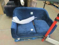  1X   MADE.COM TUBBY 2 SEATER SOFA, REGAL BLUE VELVET 2 SEATER SOFA WITH DARK STAIN WOODEN LEGS  