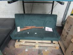   1X   MADE.COM 2 SEATER GREEN VELVET SOFA   THE WOODEN CORNER BLOCK THAT THE LEG FIXES TO HAS