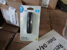 | 5x | ONN 3350MAH BOX OF 4 POWER BANK WITH MICRO USB CABLE | NEW & BOXED | NO ONLINE RESALE | SKU