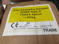 Galvanised Round Wire Nails 100x4.5mm - 25Kg Box (Approx 1000+) - Unused & Boxed.