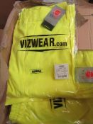2x Vizwear - Hi-Vis Yellow Polycotton Trousers - Size 3XL - New & Packaged.