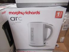 Morphy Richards Arc 1.7L jug white kettle, brand new and boxed. RRP £26.99