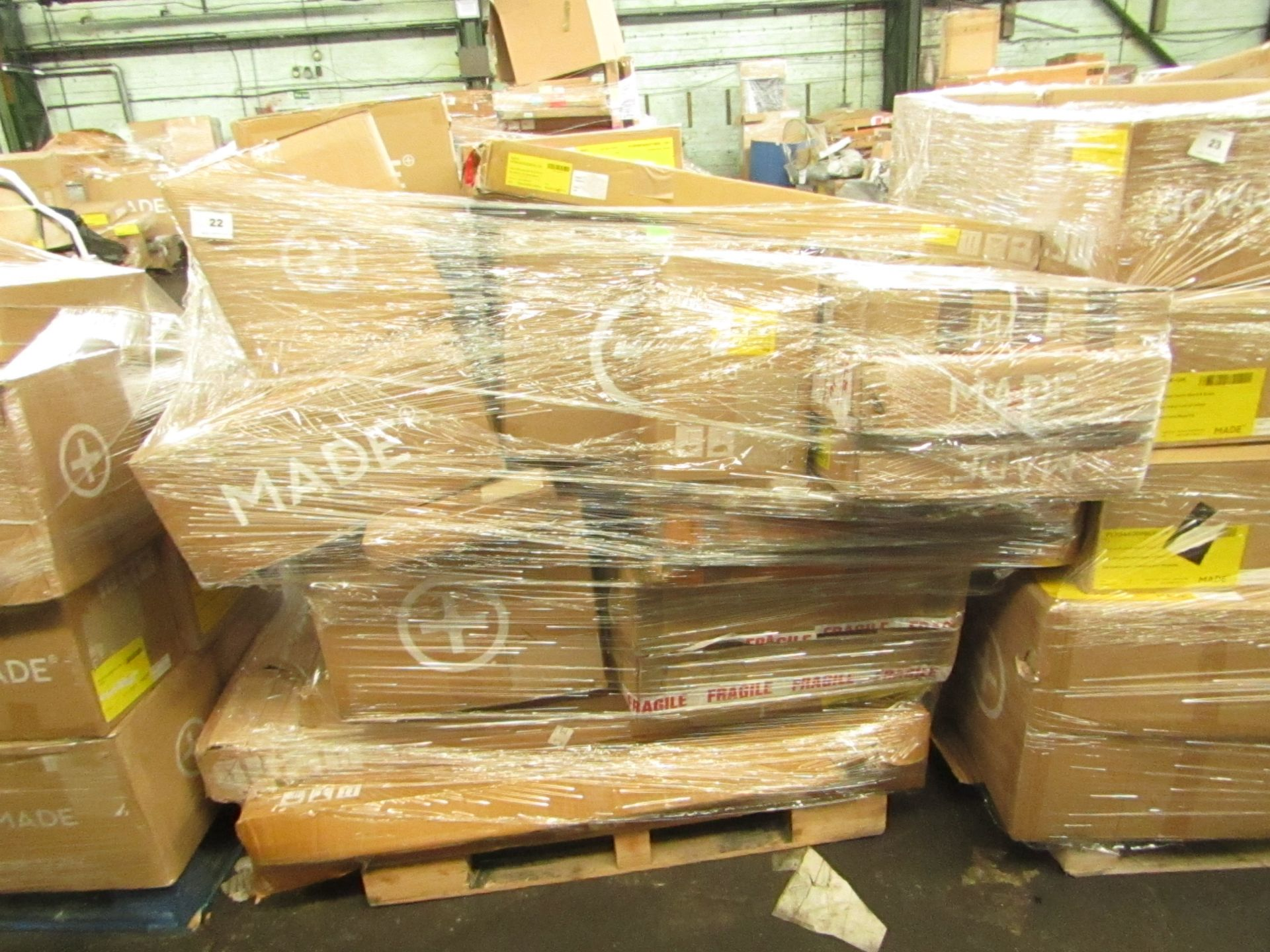 Mixed pallet of Made.com customer returns to include 25 items of stock with a total RRP of