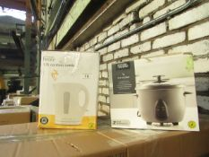   X   VARIOUS ITEMS 1 X RICE COOKER & 1 X CORDLESS KETTLE   UNCHECKED & BOXED   NO ONLINE RESALE  