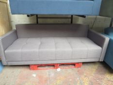   1X   MADE.COM CHOU CLICK CLACK SOFA BED WITH STORAGE, CYGNET GREY   HAS A SMALL SLIT AT THE BOTTOM