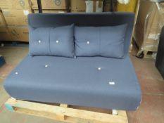   1X   MADE.COM HARU SMALL SOFA BED, WHITE & BLUE   NO VISIBLE DAMAGE (NO GUARANTEE) HAS NO FEET  