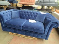   1X   MADE.COM 3 SEATER BRANAGH SOFA BED, ELECTRIC BLUE   DAMAGED FABRIC AT THE BOTTOM FRONT OF THE