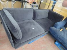   1X   MADE.COM WES 3 SEATER SOFA, MOURNE GREY VELVET SOFA   UNCHECKED & MISSING FEET   RRP £899  