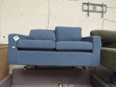   1X   3 SEATER PULL OUT SOFA BED, DARK BLUE   HAS A SLIT AT THE BACK & MISSING FEET   RRP £1099  