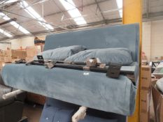   1X   MADE.COM HARU LARGE DOUBLE SOFA BED, MARINE GREEN VELVET   NO VISIBLE DAMAGE (NO GUARANTEE)