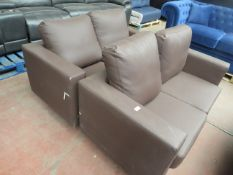   2X   LEATHER 2 SEATER SOFAS   BOTH HAVE DAMAGED LEATHER & NO FEET   RRP £-  