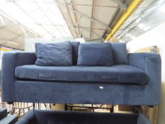   1X   MOGEN 3 SEAT SOFA BED, SAPPHIRE BLUE VELVET   NO VISIBLE DAMAGE (NO GUARANTEE) WITH FEET  