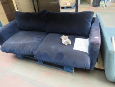   1X   SWOON EDITIONS 3 SEATER SOFA BLUE VELVET SOFA   HAS IMPERFECTIONS SUCH AS ON THE MATERIAL,