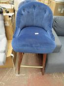   1X   MADE.COM MARGOT BAR STOOL, ELECTRIC BLUE VELVET   NEEDS A CLEAN AND HAS IMPERFECTIONS ON