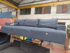   1X   MADE.COM OSKAR 3 SEATER SOFA, AEGEAN BLUE   NO VISIBLE DAMAGE (NO GUARANTEE) WITH FEET  